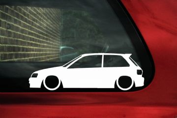 2x Low car outline stickers Toyota Starlet GT Turbo EP82 JDM